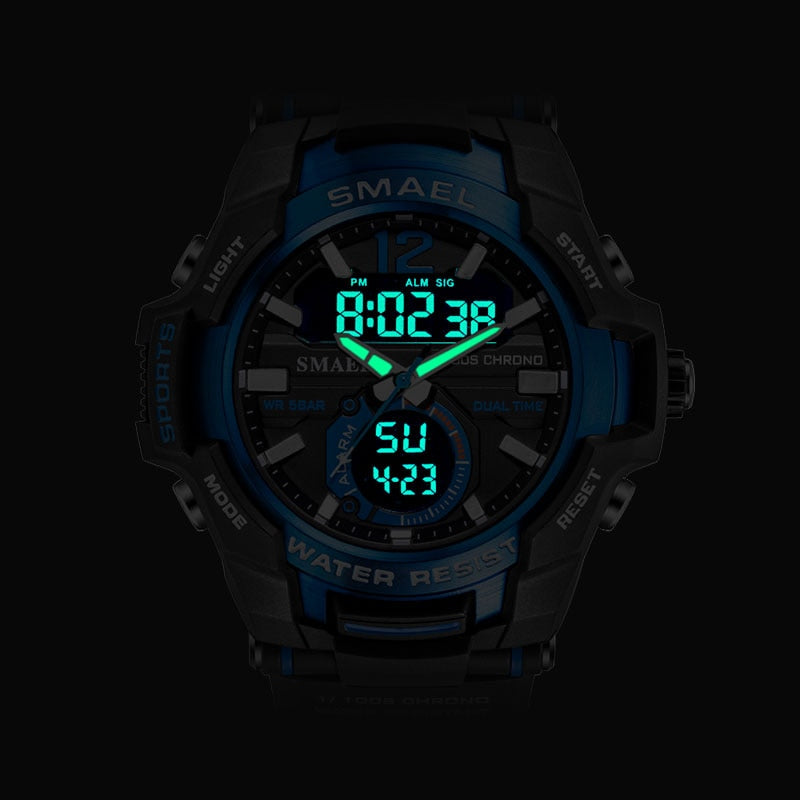 SMAEL Sport Watch Men Watches Waterproof 50M Wristwatch Relogio Masculino Big Dial Quartz Digital Military Army Clock 1805