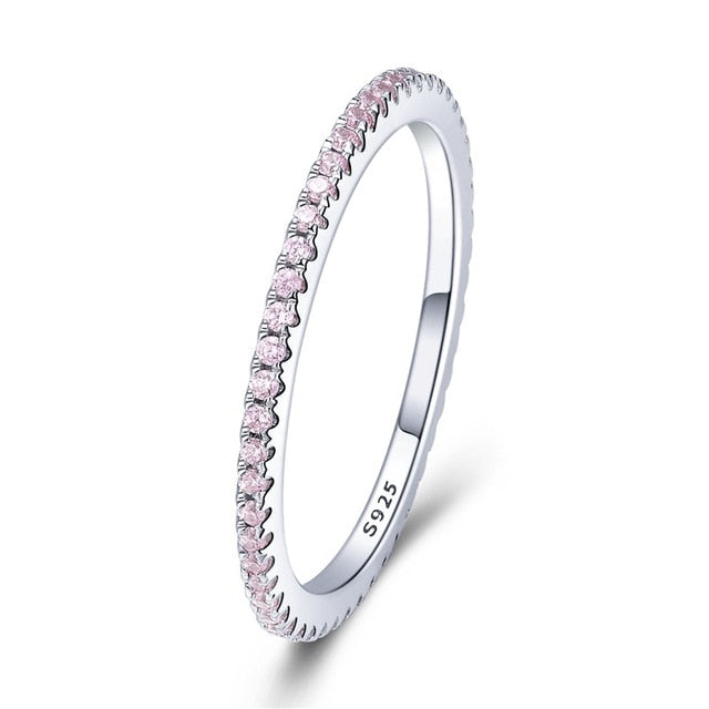 925 Sterling Silver Pink Crystal Wedding Female Rings for Women Simple Geometric Ring Sterling Silver Jewelry SCR066