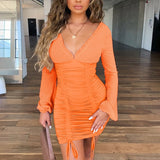 Chiffon Summer Autumn Dress Women 2020 Sexy Long Sleeve Slim Elastic Bodycon Bandage Dress Short Pleated Party Dresses