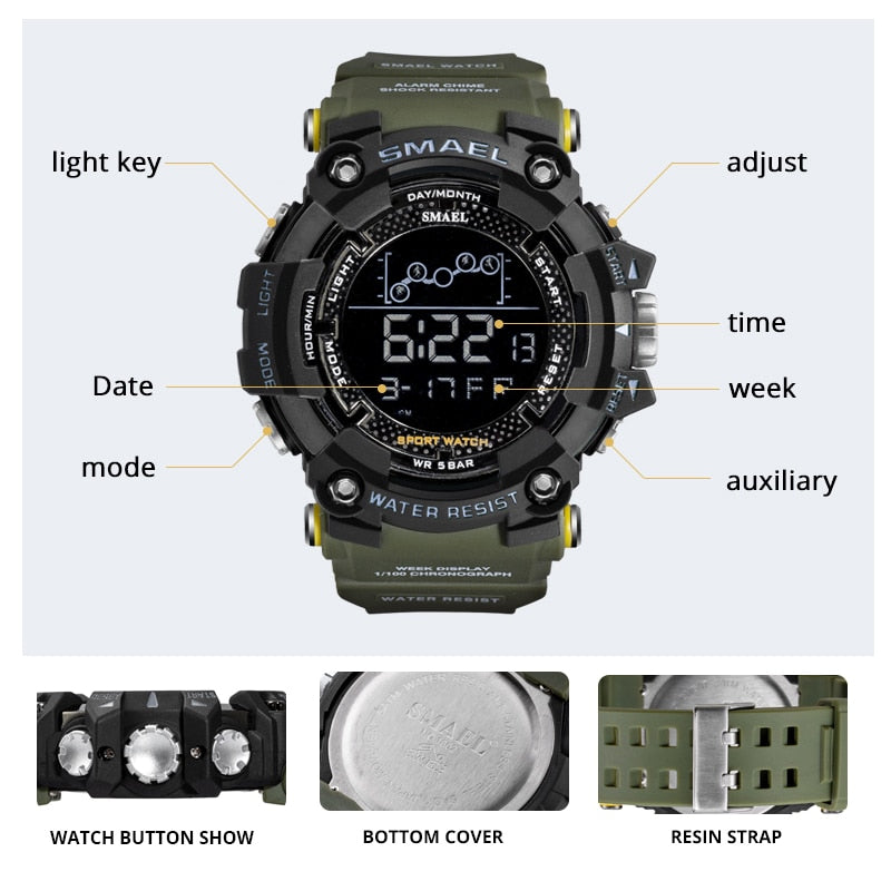 SMAEL Mens Watch Military Waterproof Sport Wrist Watch Digital Stopwatches For Men 1802 Military Watches Male Relogio Masculino
