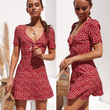 Fashion Women Short Sleeve Wrap Boho Floral Mini Dress Ladies Summer Holiday Party Sundress Female vestidos