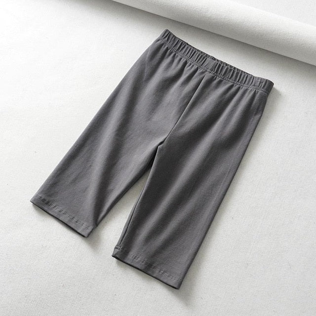 sexy women cotton high waist elastic pure color slim Knee-Length bikeshorts leggings female