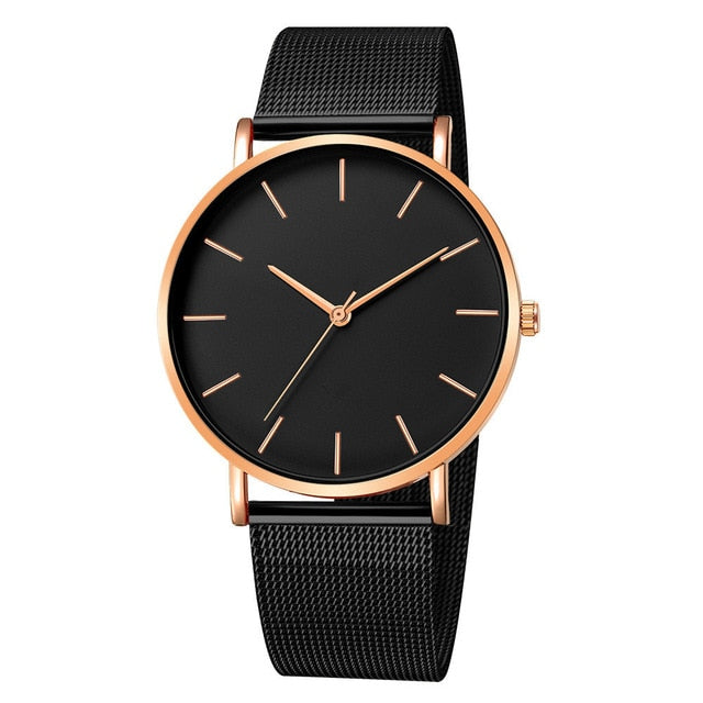 Men Watch Quartz Casual Watches Simple Metal Hour Reloj Quartz Watch Montre Mesh Stainless Steel erkek kol saati masculino clock