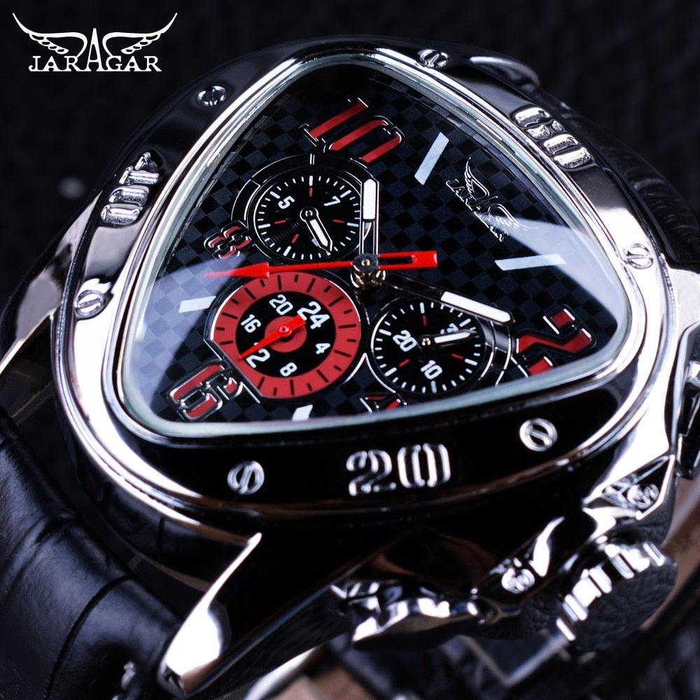 Jaragar Sport Racing Design Geometric Triangle Pilot Genuine Leather Men Mechanical Watch Top Brand Luxury Automatic Wrist Watch