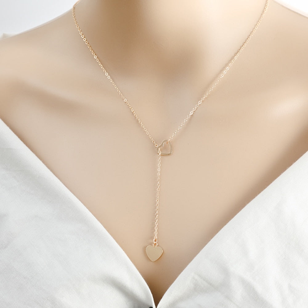 New fashion trendy jewelry copper heart chain link necklace gift for women girl