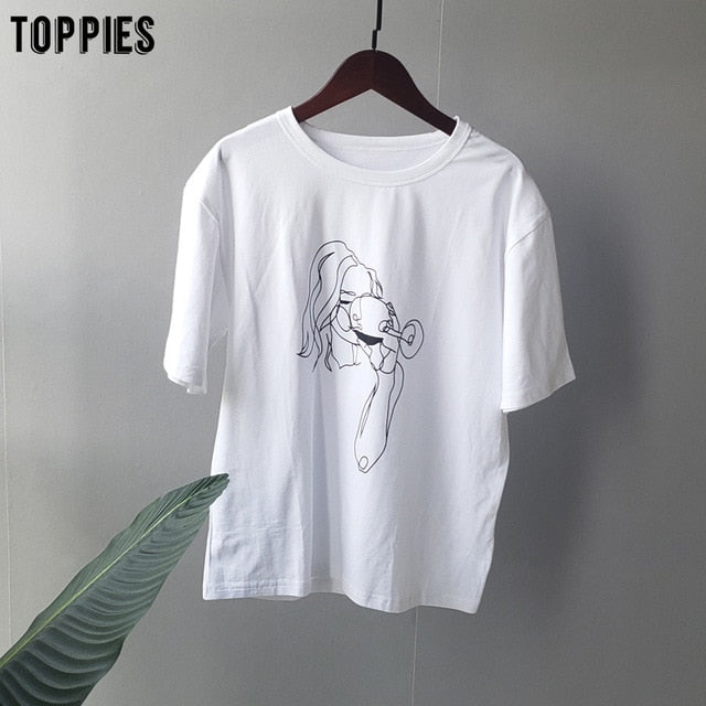 toppies summer t-shirts character printing tops tees solid color white t-shirts women drinking girls tops