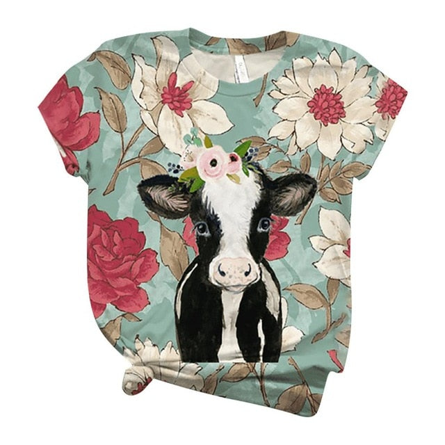 t shirt women harajuku tops women 2020 Plus Size Women Short Sleeve 3D Animal Printed O-Neck Top T-Shirt camiseta mujer футболка