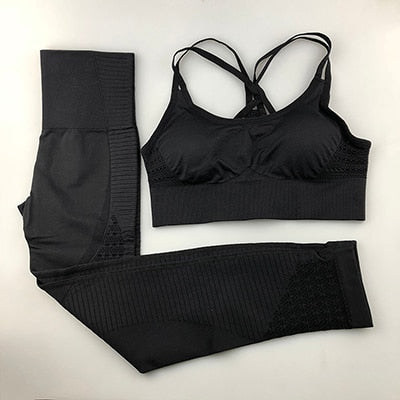 Yoga Set Women Fitness Clothing Sportswear Woman Gym Leggings Padded Push-up Strappy Sports Bra 2 Pcs Sports Suits
