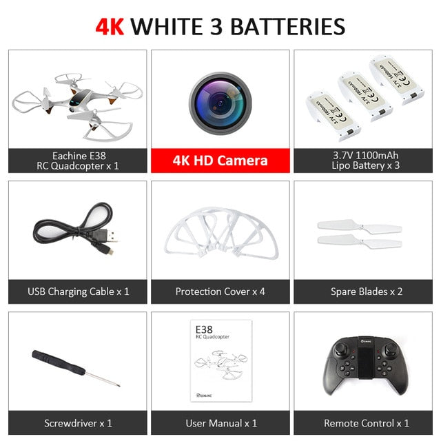Eachine E38 WiFi FPV RC Drone 4K Camera Optical Flow 1080P HD Dual Camera Aerial Video RC Quadcopter Aircraft Quadrocopter Toys