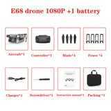 2020 NEW E68 Drone HD wide angle 4K WIFI 1080P FPV Drones video live Recording Quadcopter Height To maintain Drone Camera Toys