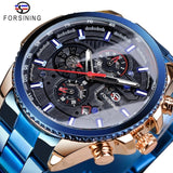 Three Dial Calendar Stainless Steel Men Mechanical Automatic Wrist Watches Top Brand Luxury Military Sport Male Clock