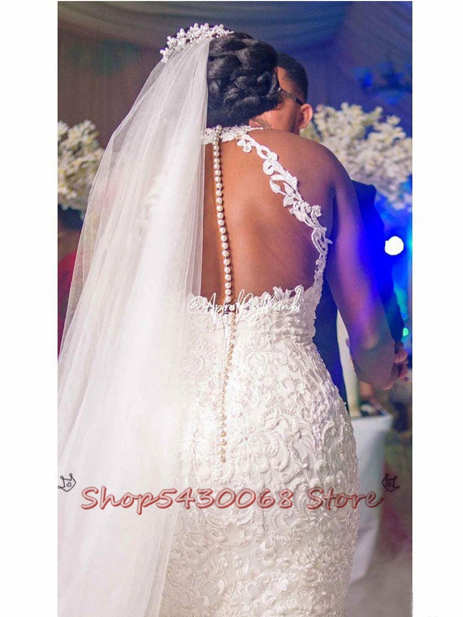 2020 Arabic Aso Ebi Vintage Lace Beaded Wedding Dresses Sheer Neck Mermaid Bridal Dresses Sexy Cheap Wedding Gowns