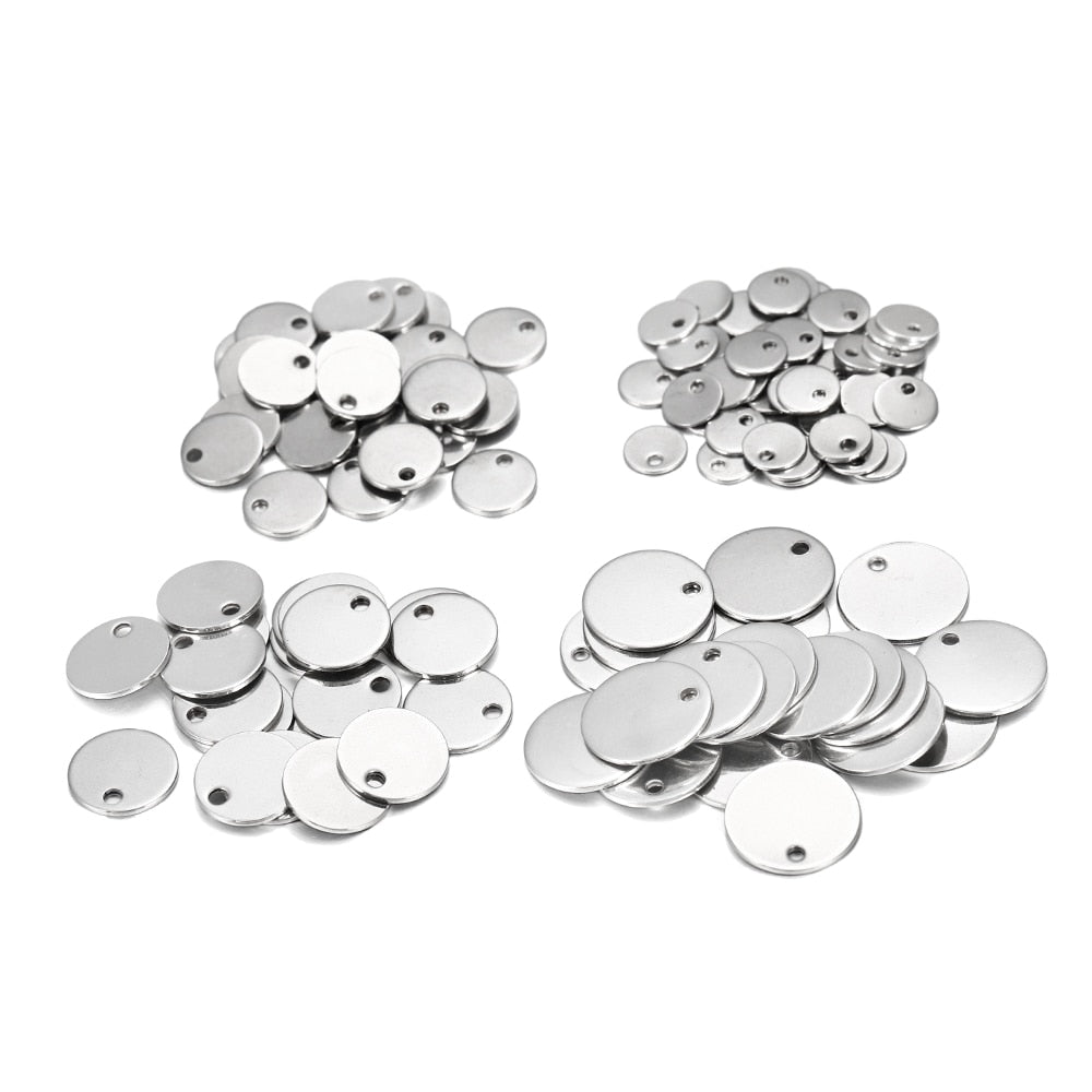 10-50pcs 6-30mm Stainless Steel Charms Round Dog Tag Pendant Stamping Blanks Pendants For Necklaces DIY Jewelry Making