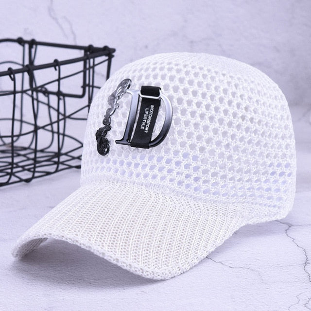 New Fashion Letter Adjustable Baseball Cap Hollow Design Breathable Net Caps Women Outdoor Summer Sports Sun Hats M9597