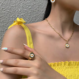 AOMU 1SET 2020 Korea New Hot Small Daisy Tulip Metal Pendant Necklace Rings Bracelet For Women Girls Jewelry Set Gifts