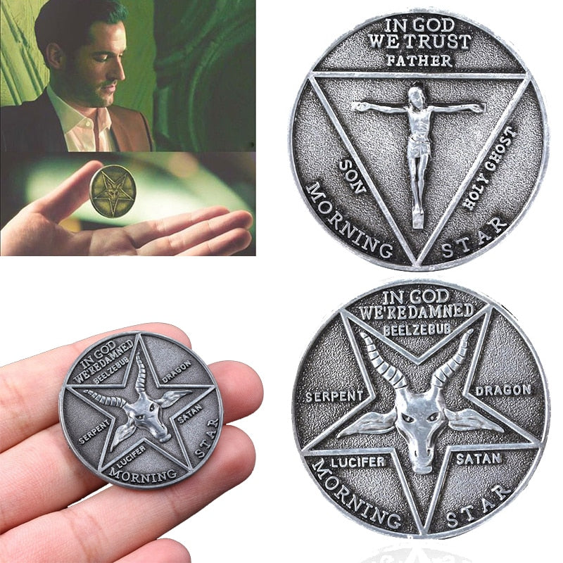 TV Show Lucifer Morningstar Satanic Pentecost Cosplay Coin Commemorative Coin Badge Halloween Metal Accessories Prop Coin