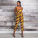 Fashion Ladies 2020New Year African Clothes Ankara Style DIY Bandage Robe Africaine Dashiki Jumpsuit Ethnic Sexy Dress For Women