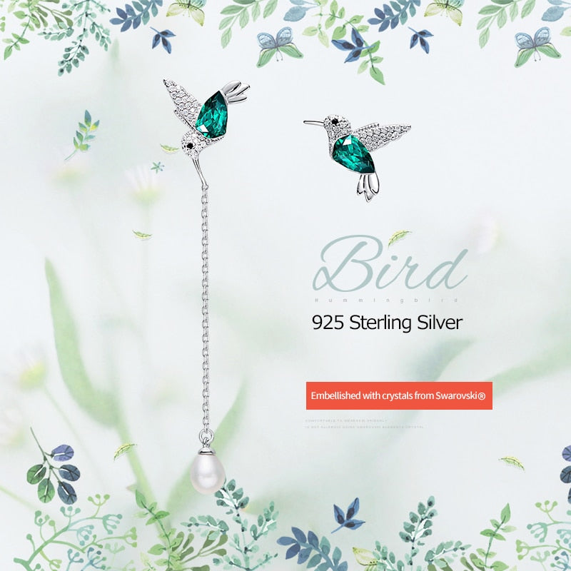 925 Sterling Silver Bird Earrings Embellished with Crystal from Swarovski Stud Earrings for Women Piercing Oreja