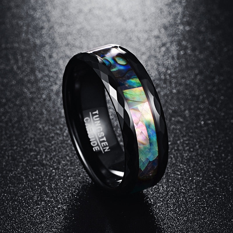 high polish faceted abalone shell inlay 8mm width 100% genuine wedding band elegance tungsten carbide rings for men