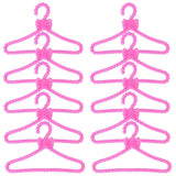 10 Pcs/Lot Doll Accessories Pink Purple Grey Wardrobe Dollhouse Dress Clothes Plastic Hangers for Barbie Ken Doll Clothes Toy