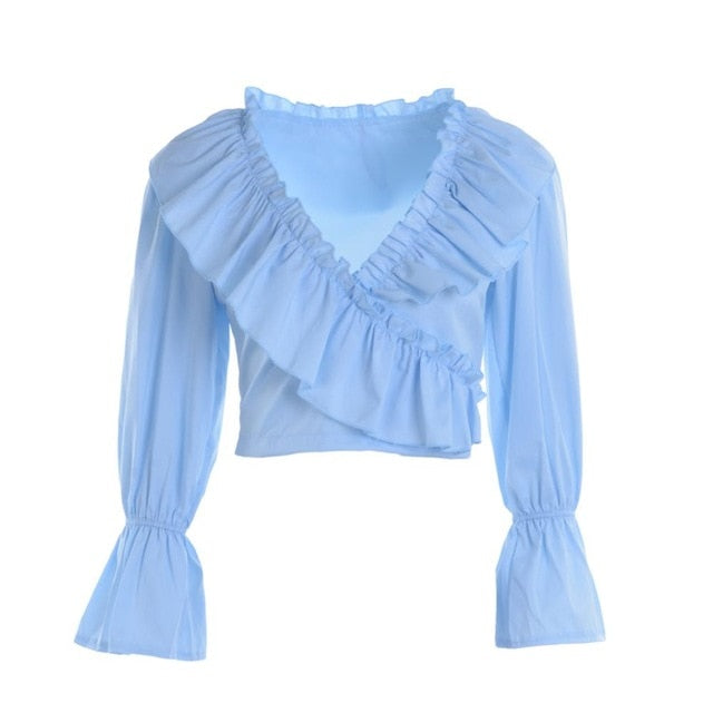 New Fashion Womens Chiffon Long Puff Sleeve Off Shoulder Crop Tops Blouses Loose Casual Blouse Lady Sexy Hot Sale Corp Top Shirt