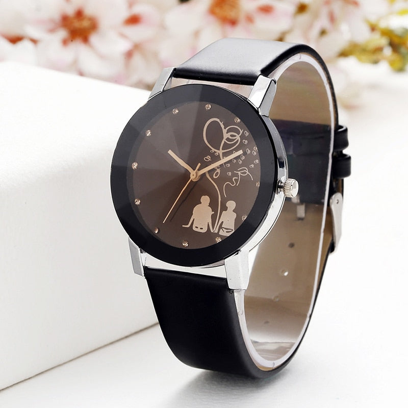 Hot Fashion Lovers Watches Men Women Casual Leather Strap Quartz Watch Women's Dress Couple watch leather strap
