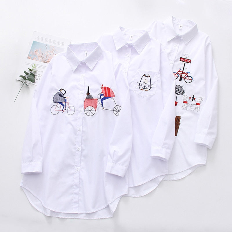 New White Women Blouse 19 Long Sleeve Cotton Embroidery Blouse Lady Casual Button Design Turn Down Collar Female Shirt  5083 50