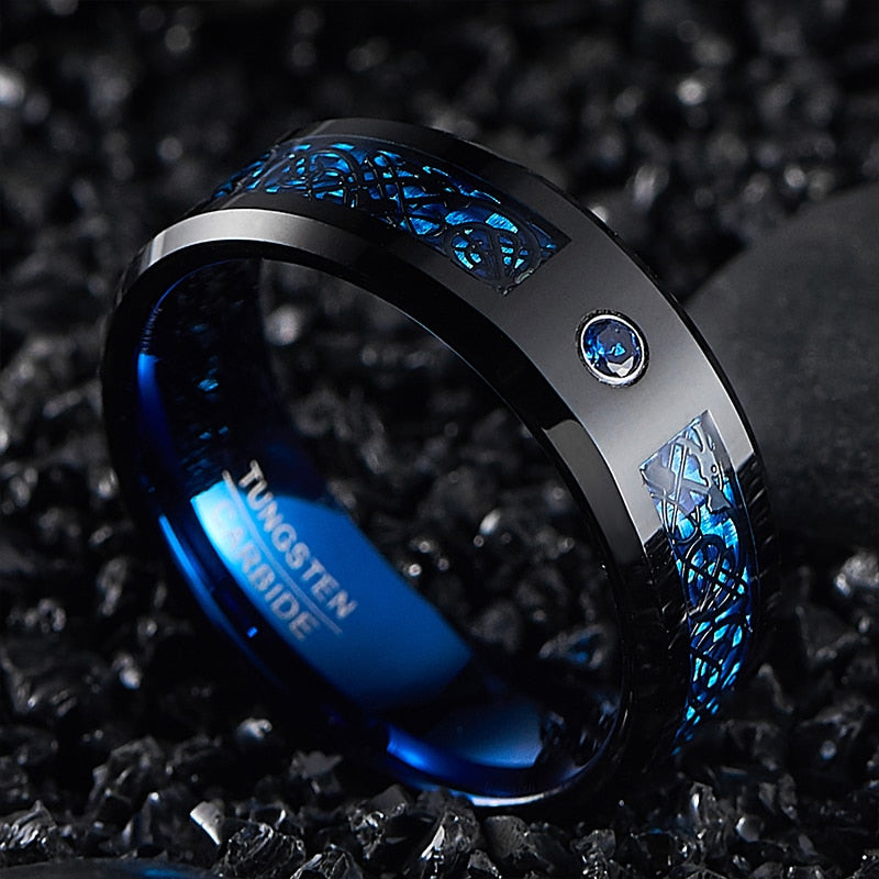 Men's 8mm Blue Carbon Fiber Black Tungsten Carbide Ring Comfort Fit Wedding Band Size 7 to 14