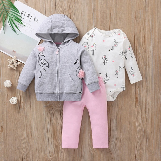 3PCS Newborn Baby Boy Girl Clothes Sets 2020 Spring Fall Animals Floral Warm Hooded Coat+Romper+Pants Newborn Baby Outfits