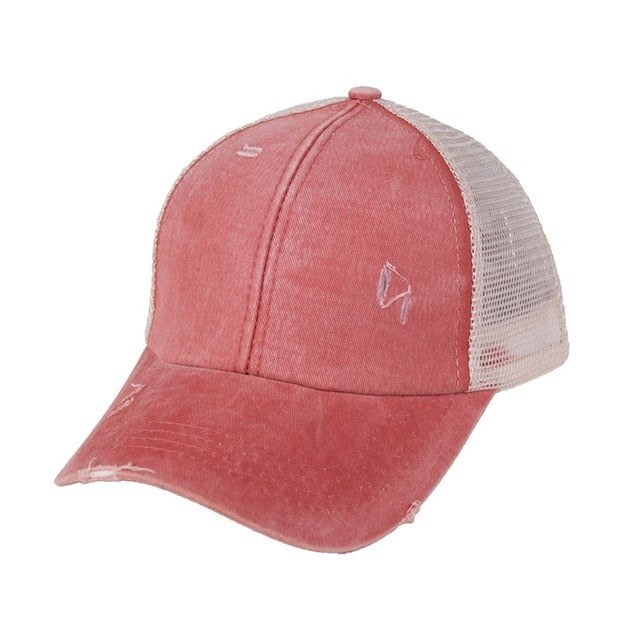 2020 New Ponytail Baseball Cap Messy Bun Hats For Women Washed Cotton Snapback Caps Casual Summer Sun Visor Outdoor Hat
