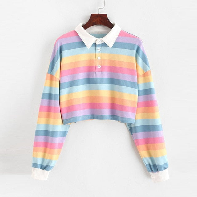 Polo Shirt Women Sweatshirt Long Sleeve Rainbow Color Ladies Hoodies With Button Striped Korean Style Sweatshirt Women
