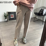 BGTEEVER Winter Thicken Women Pencil Pants Plus Size Wool Pants Female Autumn High Waist Loose Trousers Capris Good Fabric
