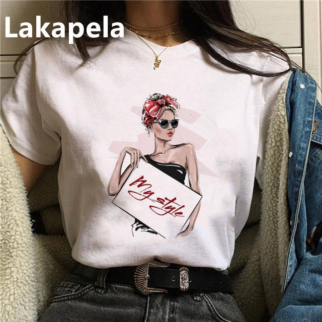 Vogue Women T shirt Print Female Grunge Ulzzang Tshirt Cartoon Funny Tops Shirts 90s T-shirt Graphic Clothes Fashion Drop ship