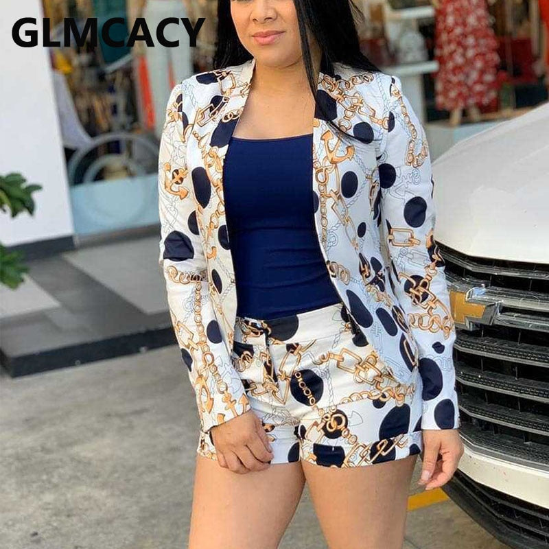Women Vinatge Chain Printed Blazer Top and Shorts Set Elegant Office Ladies Suits Women Workwear