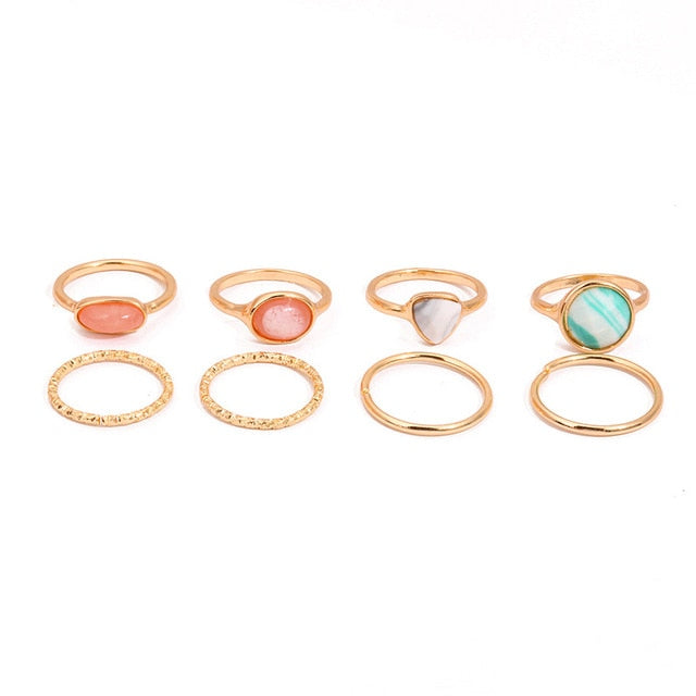 HZ 2019 Vintage Summer 8Pcs/Set Fairy Friends Colorful Stone Metalic Fashion Finger Rings Korea Hit Rings for Women Girl Party