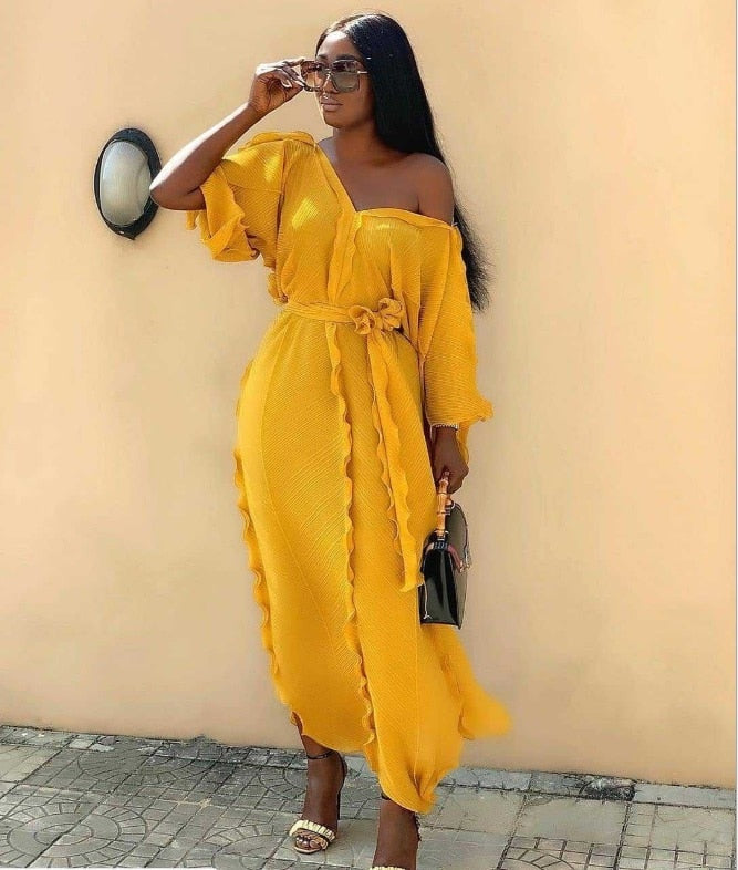 2020 new summer elegent  style african women v-neck plus size long dress  ladies clothes