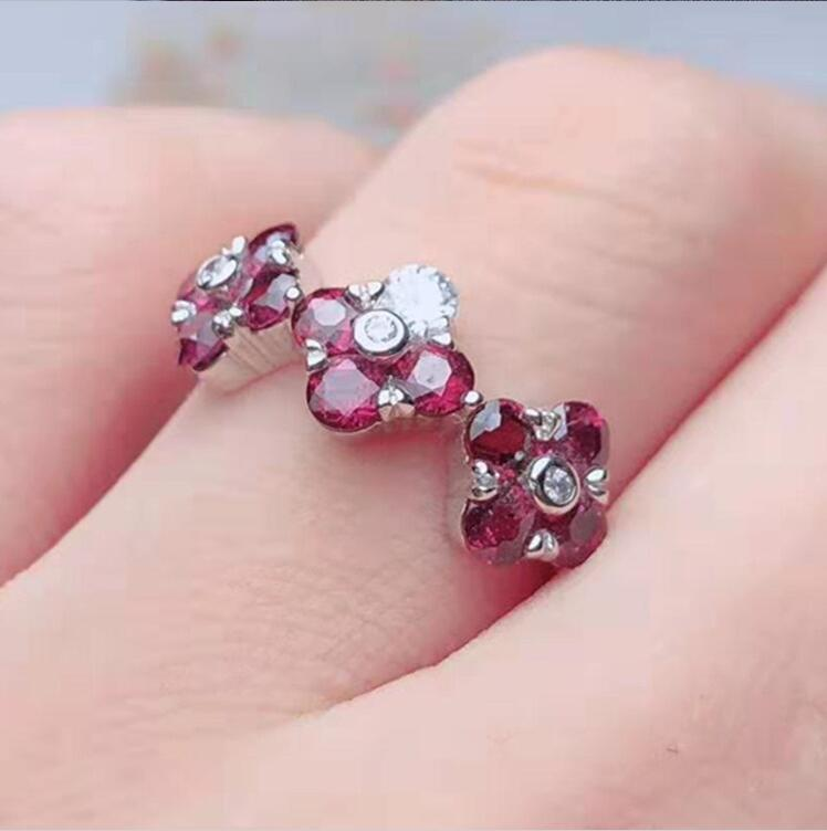S925 silver inlay 5A zircon natural purple tooth garnet ring adjustable