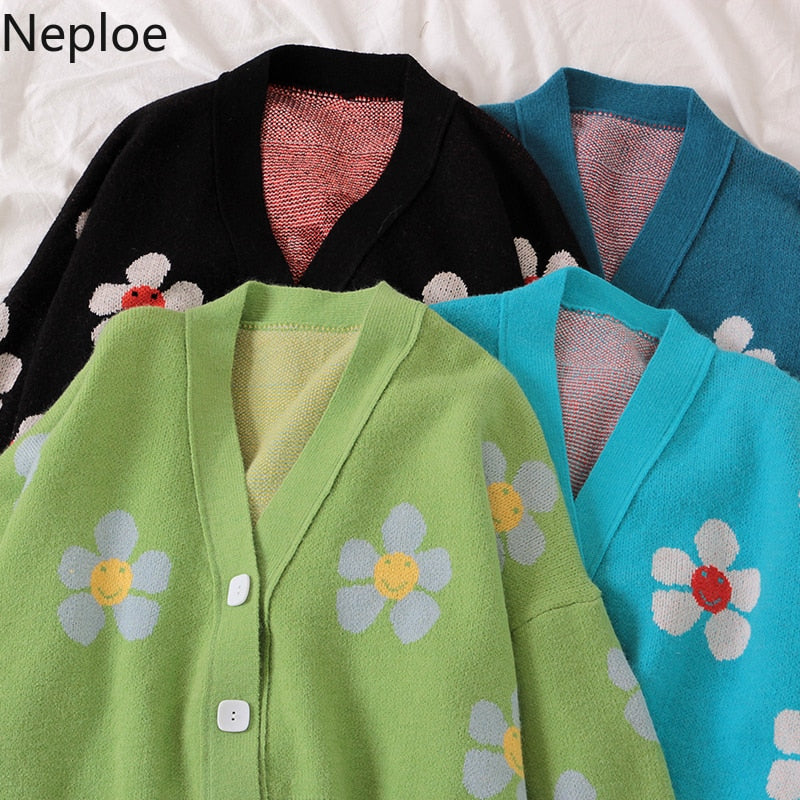 Neploe Preppy Style Flower Knit Cardigans Sweater Women V Neck Loose elegaht Thicked Pull Femme Print Short Casual Coat 46565