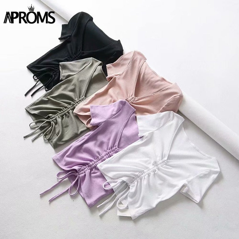 Sexy V Neck Cropped Tank Tops Women Drawstring Tie Up Front Camis Candy Colors Streetwear Slim Fit Ribbed Crop Top 2020