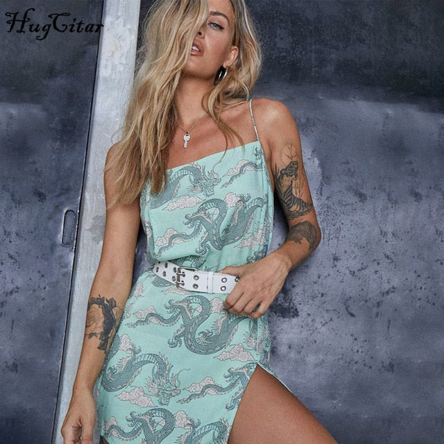 Hugcitar 2020 dragon print sleeveless slit sexy slip mini dress autumn women streetwear club outfits