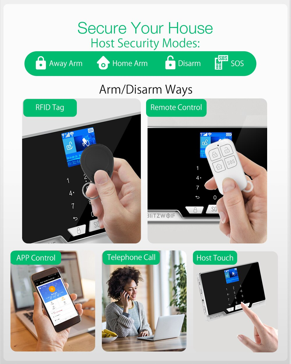 BlitzWolf 2G GSM & 433Mhz & WIFI Smart Home Security Alarm System Kits Door & Window Sensor PIR Motion Detected RFID Smart Host