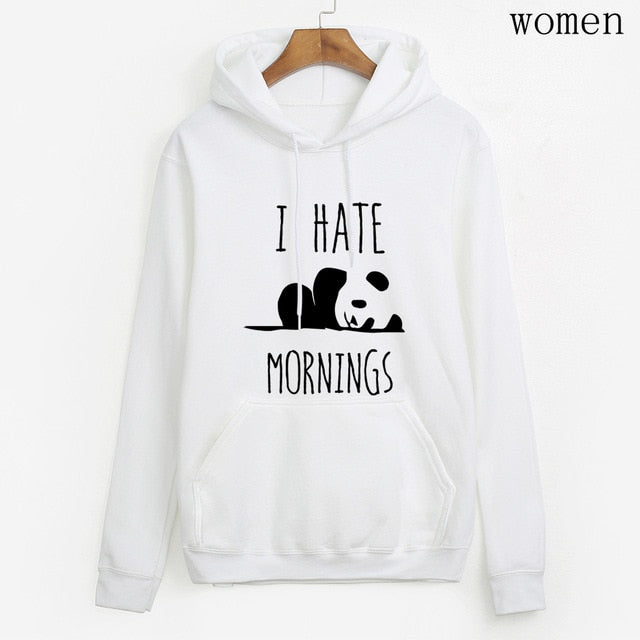 brand tracksuis fashion women long sleeve hoodies 2020 moleton feminino fleece hoodies Panda I HATE MORNINGS sweatshirt  female