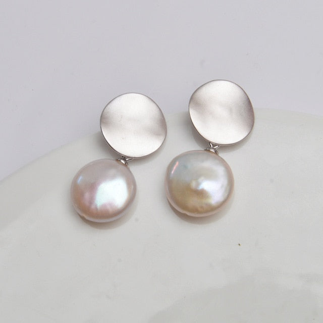 Real 925 Sterling Silver Korean Earring Big Natural Freshwater Baroque Pearl fashion jewelry for women серьги позолото
