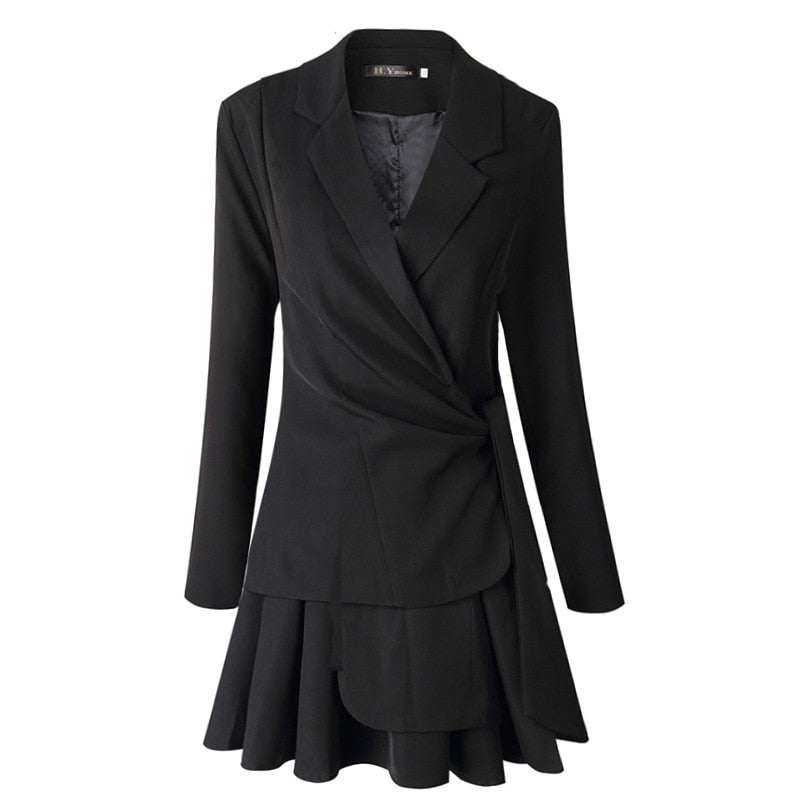summer fashion casual Turn-down Collar black high waist slim long sleeve bow Suit blazer Skirt women SB309