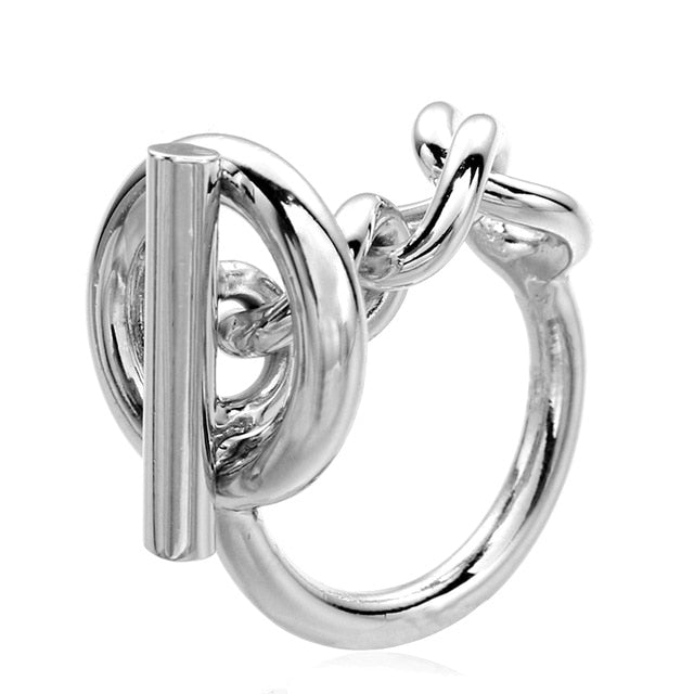 925 Sterling Silver Rope Chain Ring With Hoop Lock For Women French Popular Clasp Ring Sterling Silver Jewelry Making