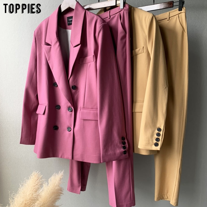 toppies 2020 autumn blazer + pant two peice set women double breasted suit jacket high waist pants