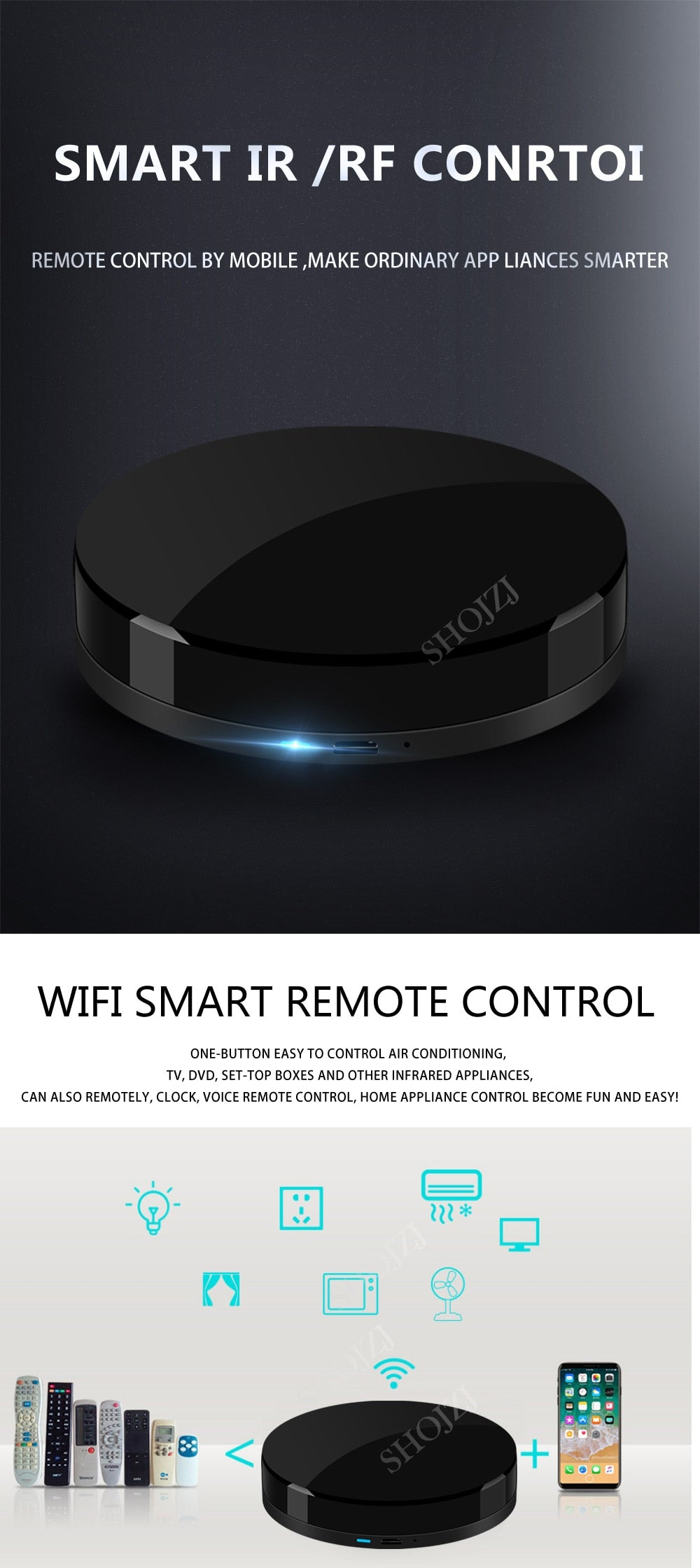 TUYA WIFI+IR+RF Universal Smart Remote Voice Control Alexa Google HOME Smart Home Smart Home Automation Support DOOYA