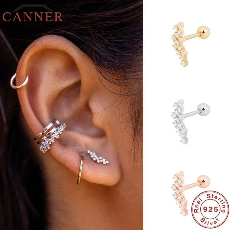 1 Pair Real 925 Sterling Silver Stud Earrings for Women Piercing Cartilage Earring Minimalist Small Cute Earings Jewelry