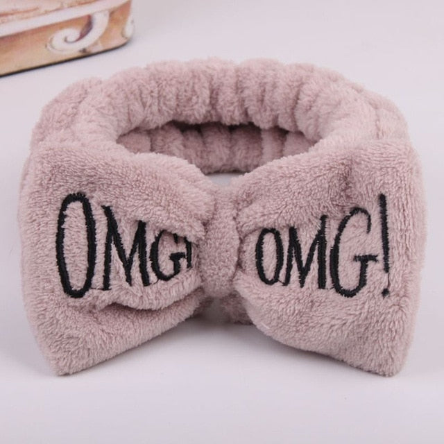 2020 New Letter OMG Headbands for Women Girls Bow Wash Face Turban Makeup Elastic Hair Bands Coral Fleece Hair Accessories