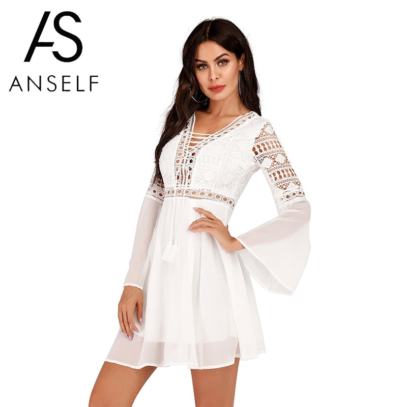 Anself Sexy Women's Dress V-Neck Hollow Out Long Sleeve Mini Chiffon Dress Elegant White Boho Woman Dresses Casual Lace Vestido